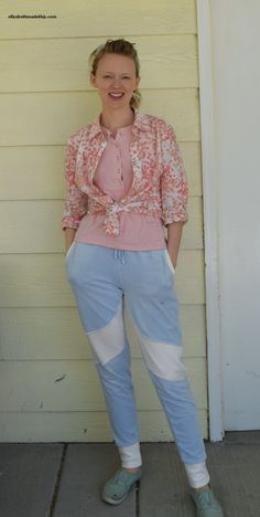 True Bias Hudson pants refashioned from blue velour sweatpants with added colorblocking