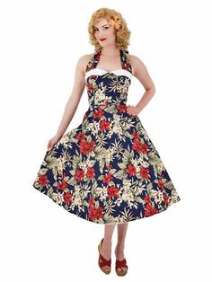 Inspired Navy Red Hawaiian Floral Halter Midi Dress - Inspired Hawaiian Floral Halter Dress in navy and red Source by gordonbewick - 1950s Fashion Dresses, Modern Vintage Fashion, Vintage Inspired Fashion, Vintage 1950s Dresses, Retro Dress, Red Summer Dresses, Midi Flare Skirt, Pin Up Dresses, Vintage Mode