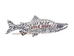 Alaska Salmon Art Print Fish Typography by CalligramORama on Etsy, $19.50