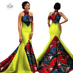 BRW 2017 New African Women Long Dresses Dew Shoulders Women Formal Elegant Dresses Print Wax Party Gowns Plus Size Dress WY1314