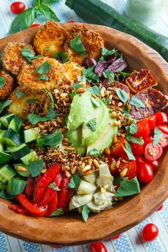 Greek Goddess Grain Bowl with Fried Zucchini, Halloumi and Toasted Seeds #greek #salad #vegetables