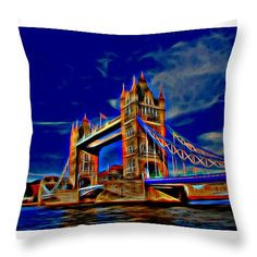 "Tower Bridge Throw Pillow 14"" x 14"""