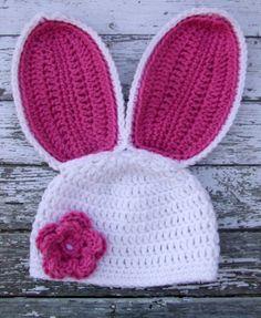 Floppy Ear Bunny Beanie in White and Bright by mamamegsyarnshoppe, $24.00