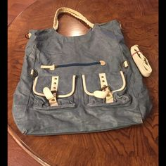Nila Anthony Oversized Bag Blue leather bag with white accents. Fully lined. Interior zipper and cell phone pocket. Double pockets outside and zipper pocket. There are stains and little damage but it all looks distressed on the bag. Also has a long strap so carry it two ways. Great bag. Tons of life let to it. Bags