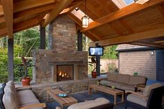Photo of Beige Rustic Living Room project in Snohomish, WA by Gelotte Hommas Outdoor Fireplace Designs, Backyard Fireplace, Backyard Patio, Outdoor Fireplaces, Patio Roof, Outside Living, Outdoor Living Areas, Outdoor Rooms, Living Spaces