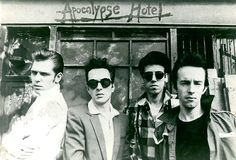 The Clash // September 1981   Photographed by Kosmo Vinyl, they pose in front of the 'Apocalypse Hotel'.