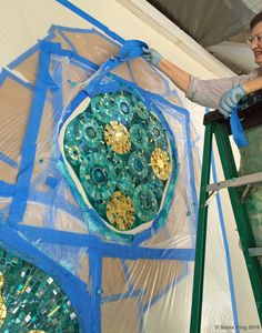 Installation of VisionShift mosaic at Hall Arts by Sonia King Mosaic Artist