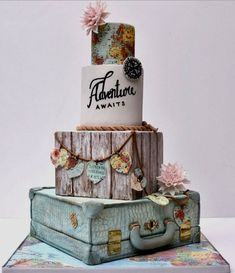Beautiful Vintage Travel theme cake by our May/June contributor - Cake Decorating Cupcake Ideen Gorgeous Cakes, Pretty Cakes, Cute Cakes, Amazing Wedding Cakes, Amazing Cakes, Cake Wedding, Wedding Cake Vintage, Vintage Travel Wedding, Themed Wedding Cakes