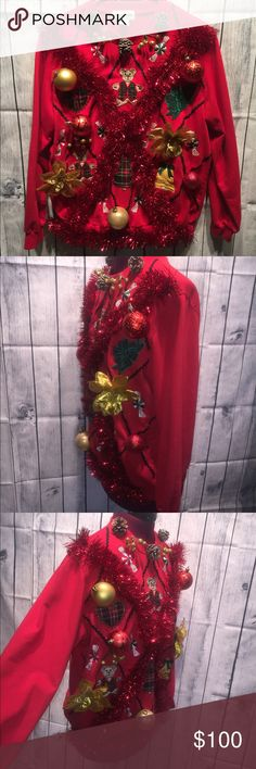 """Women's Ugly tacky Christmas Sweater Medium BEST OFFER GET THIS  Alfred Dunner Size Medium  65%Polyester 35% Cotton  ❄️HANDMADE❄️ UGLYCHRISTMASSWEATER  Super Ugly & Tacky‼️ Be festive in this sweater Great for an ugly sweater party/Contest/Christmas  Best UGLY sweater. You will bring attention and turn heads‼️ Armpit to Armpit 21.5"""" Sleeve length 22"""" Length of sweater from top shoulder to bottom 24"""" Check out my other items  Alfred Dunner Sweaters Crew & Scoop Necks"""