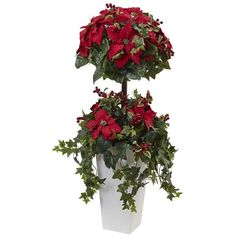 Nearly Natural 4' Poinsettia Berry Topiary with Decorative Planter ($149) ❤ liked on Polyvore featuring home, home decor, christmas home decor, red planter, red home decor, green planters and green home decor