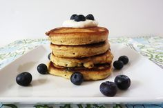 Blueberry Lemon Pancakes    Ingredients:    1/3 Cup of Greek Lemon Yogurt (6 oz container works for the whole recipe)    2 egg Whites    1/2 tsp. Vanilla Extract    1/2 cup. White Whole Wheat Flour    1/2 tsp. Baking Soda    1/2 tsp. Sugar    1 dash salt    1/4 cup non-fat milk    1/2 cup blueberries, fresh    Yogurt Sauce Ingredients:    3 Tbsp. Lemon yogurt
