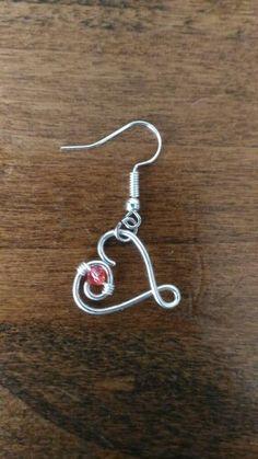 #orecchini #red #handmade #rosso #jewelry #wire #cuori #hearts #cuoricini