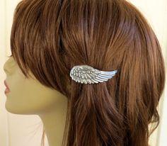 Steampunk Angel Wing Barrette Sterling Silver Angel by bellamantra