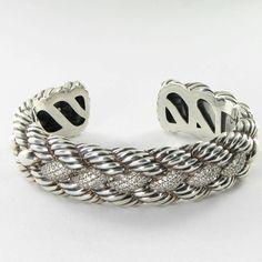 David Yurman Bracelet Med Woven Cable 1.26cts Diamonds Sterling Silver NEW $3600 #DavidYurman #Cuff