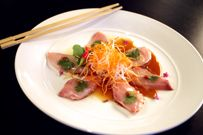 Sashimi of Yellowtail with With Jalapeño, Cilantro and Ponzu Sauce. The Mercury Dallas, TX North Dallas Chris Ward is executive chef/partner for Dallas award-winning restaurant, The Mercury, a multi-million dollar restaurant acclaimed nationally for Wards imaginative culinary flair, maintaining the restaurants success for nine years.