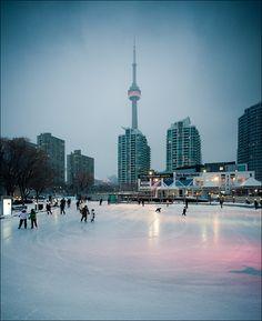 Natrel skating rink looking downtown