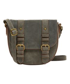 Take a look at this T-Shirt & Jeans Handbags Gray Double-Buckle Crossbody Bag today!