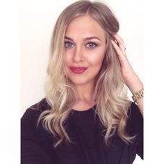 Red wine lips. Blonde ombre hair. Natural makeup