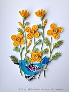 Quilled Bird, Flowers & Leaves