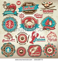 Collection of vintage retro grunge seafood restaurant labels, badges and icons by Catherinecml, via Shutterstock