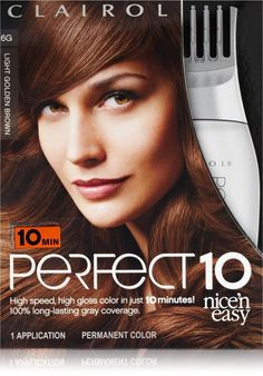 Clairol Perfect 10 Nice'N Easy Hair Color G6 Light Golden Brown Toffee 1 Kit  #Clairol