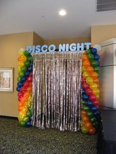 """Disco Party (** I would use the """"Disco Night"""" sign in """"The After Party"""" . - Disco Party (** I would change the """"Disco Night"""" sign to """"The After Party"""" … - Disco Theme Parties, 80s Birthday Parties, Disco Birthday Party, Surprise Birthday, Themed Parties, 40th Birthday, Decoration Disco, Disco Party Decorations, Hippie Party"""