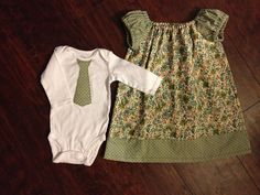 Big Sister Little Brother shower gift. Link to free peasant dress pattern by Craftymom.