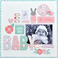 「Carta Bella Paper - It's a Girl Collection - Designer Dies - Bib and Rattle」の画像検索結果 Baby Boy Scrapbook, Scrapbook Bebe, Album Scrapbook, Baby Scrapbook Pages, Scrapbook Layout Sketches, Scrapbooking Layouts, Baby Journal, Ems, American Women