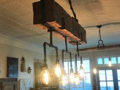 Lámpara hecha a mano de madera recuperada de la viga | Etsy