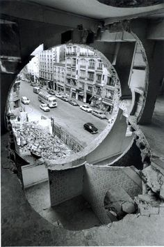 Conical Intersect Gordon Matta-Clark 1975. He carved figures out of abondend buildings. He made art out of the world around us.