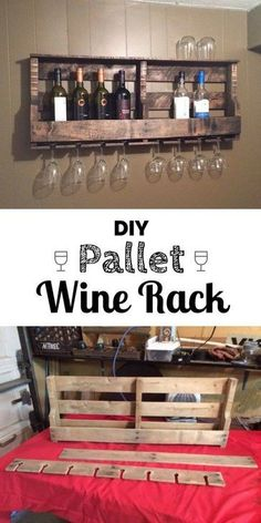 Wood Pallet DIY Wood Pallet Wine Rack - Kitchen wall decor ideas'll make the space more than just a place to whip up a meal. Find the best designs! Give your kitchen a pop of personality! Diy Wood Pallet, Wood Pallet Wine Rack, Pallet Crafts, Diy Pallet Projects, Home Projects, Pallet Ideas, Diy Crafts, Wood Crafts, Wood Pallets
