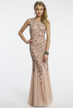 Camille La Vie Sleeveless Beaded Godet Prom Dress