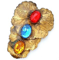 Large Lily Pad Dress Clip Red Blue Amber Gold Rhinestone Vintage Art Deco