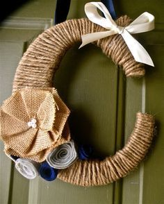 Twine Monogram Wreath with handcrafted burlap and felt flowers and a ribbon to hang by Wreaths247 on Etsy