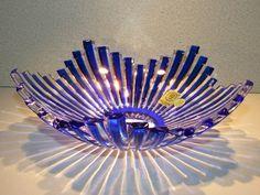 CAESAR CRYSTAL Blue Bowl Cased Hand Cut to Clear Overlay Czech Bohemian Glass