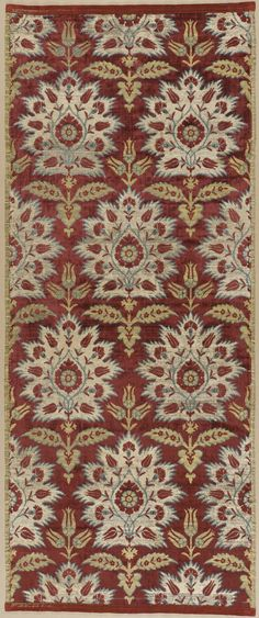 Textile Length with Design of Stylized Carnations and Tulips | LACMA Collections