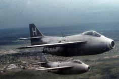 "Two SAAB 29 ""Tunnan"" (The Barrel) from 22 U.N. Fighter Squadron, Kongo, on patrol over Katanga."
