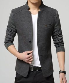 Solid Color Knit Splicing Stand Collar Long Sleeve Slimming Trendy Cotton Blend Blazer For Men Look Blazer, Casual Blazer, Men Casual, Men Blazer, Outfits Casual, Mode Outfits, Suit Fashion, Mens Fashion, Style Fashion