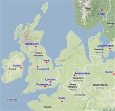 Map showing hypothetical extent of Doggerland (c. BC), which provided a land bridge between Great Britain and continental Europe European History, British History, World History, Ancient History, Portsmouth, Pacific Map, Edinburgh, Liverpool, Dublin