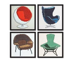 Retro Collection: ON SALE 4 Mid Century Chairs. Modern Cross Stitch Pattern PDF.. $15.00, via Etsy.