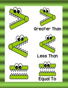 """Use this ''greater gator"""" themed clip art for math centers and class assignments. Included are colorful pictures, pictures with words, and black and white versions of all clip art. I hope you enjoy! Montessori Math, Homeschool Math, Math Games, Preschool Activities, Math Anchor Charts, 1st Grade Math, Word Pictures, Teacher Hacks, Math Worksheets"""