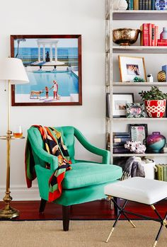 Bold colors and bookshelf