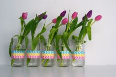 posh pink giraffe: Washi Tape Vase-DIY