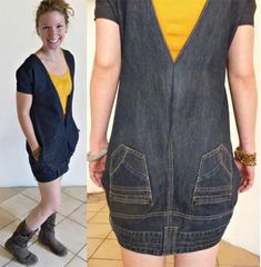 You are going to love this upside down jeans dress and it's a super easy DIY. Be sure to check out the denim apron and the denim skirt upcycle too. Jean Diy, Robe Diy, Jeans Trend, Diy Clothes Refashion, Diy Jeans, Men's Jeans, Urban Fashion Trends, Refashioning, Dress Tutorials