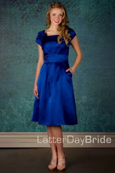 Modest Bridesmaid Dress from Latter Day Bride in a lovely gray ...