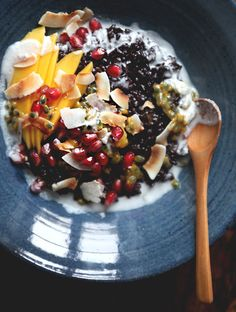 """gettingahealthybody: """"Coconut Black Rice Breakfast Pudding Serves 3-4 Ingredients: 1 cup / 200g black rice, soaked overnight (if possible) 1 can full-fat coconut milk (reserve a couple tablespoons for..."""