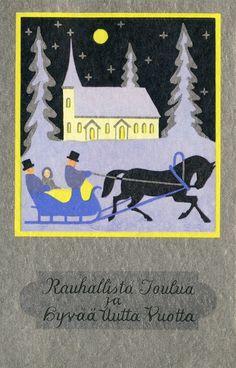 Rauhallista Joulua ja Hyvää Uutta Vuotta! #joulukirkko #hevonen #reki #Christmascards