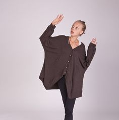 Brown Oversized Sweater Oversized Cardigan Women Box by MatkaShop,