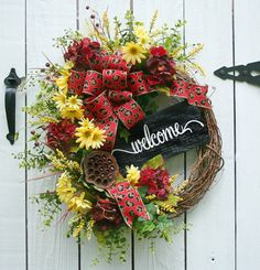 Welcome Wreath Summer Wreath Spring Wreath Red by LeWreath on Etsy