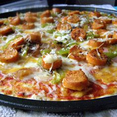Buffalo Chicken Sausage Pizza with a Homemade Ranch Drizzle...a lightened up version of our favorite:  Buffalo Chicken Pizza!